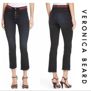 Veronica Beard Carolyn Striped Waist Cropped Jean